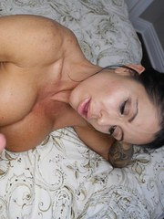 Mature mom Mrs Simone jacks off a big cock in the nude while masturbating