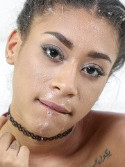 Black spinner Kendall Woods gets bent out of shape during a hard fuck