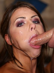 Adriana Chechik has her mouth stretched wide open during messy oral sex