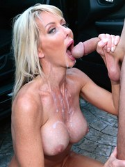 Glamour MILF Tylo Duran goes naughty outdoors fucking crazily near a car