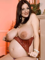 Big tits beauty with black hair Lorna Morgan shows her fat body and big boobs