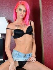Skinny Staci Simpson loves to present her pussy and ass in slutty solo scenes