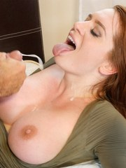 Redhead sweetheart Veronica Vain sucks balls and gets her cunt smashed hard