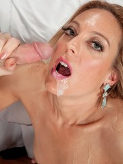 Blonde mature vixen Charli Shay plays oral before grinding on a large cock