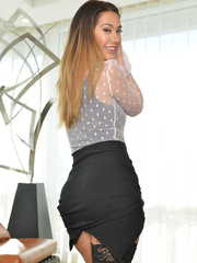 Stylish office woman Eva Lovia plays an entrancing solo in her chic lingerie