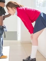 European teen Nikita Bellucci bends over to give head and to swallow sperm