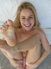 Gonzo blonde angel Lilly Ford grinds on a hard pecker and swallows sperm