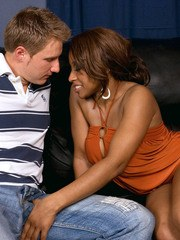 Black cougar Ayana Angel shows a white boy with a big dick a real good time
