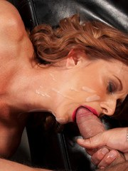 Mature mom Pepper wears jizz on her pleasing face after a fuck session