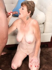 Allura James sucks young cock in sloppy modes until fully jizzed on face