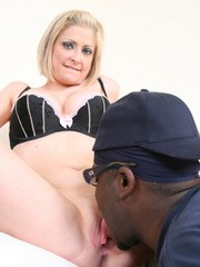 Bosomy MILF with a big booty gets her cunt licked and fucked by a black dude