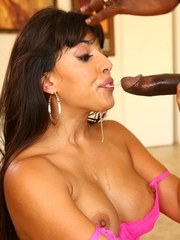 Topless Latina female Mercedes Carrera gets throat fucked by a big black dick