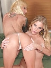 Next door neighbours Randi Tango and Brianna Ray play lesbian games by day