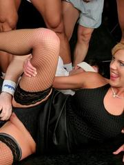 Sporty girl Sheila gets gangbanged hardcore gets her face covered with jizz