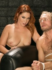 Redhead female Edyn Blair forces her sub to please her pussy before fucking