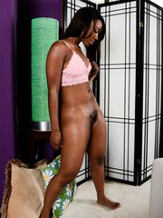 Ebony amateur Chanell Heart exhibits her pink pussy while getting naked