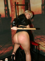 Euro chick Taranee Devil spanks her own ass wearing a leather jacket