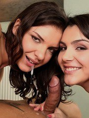 Swinging Euro chicks Henessy and Valentina Nappi get busy in a four-way fuck