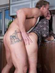 Middle aged lady Montse Swinger gets nailed hard in her kitchen