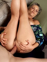 Chubby old woman Vixen Kitten bangs her young lovers big dick