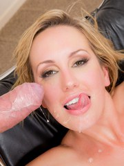 Blonde pornstar Brett Rossi licks the jizz from her lips after a solid fuck