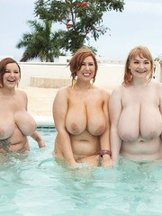 Plump MILF Micky Bells invites her chesty girlfriends to a pool party