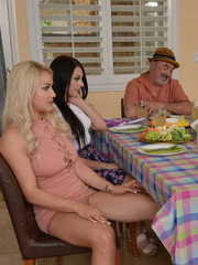 Hot chicks Lana Rhoades and Kylie Page relieve a young boy of his virginity