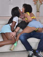 Black chicks Misty Stone and Ana Foxxx seduce a white boy for a threesome