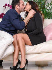 Hot chick Ava Addams decides to blow her gfs husband after seducing him