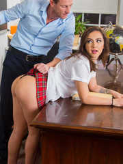 Schoolgirl Lily Jordan has her teacher spank her before they fuck on his desk