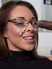 Black cock over Victoria Summers gets jizz blown on her glasses after oral sex