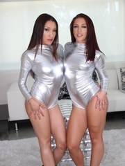 Hot Latina chicks Mischa Brooks  Vicki Chase peel jumpers over big butts