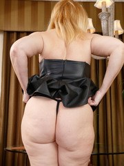 Mature solo model Brandie Sweet flaunts her big ass before stripping naked