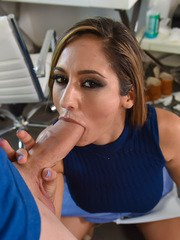 Wicked stepmother Reena Sky gives her stepson his first blowjob