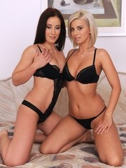Lesbians Vicky Love  Minnie Manga pleasure each other with fists up twats