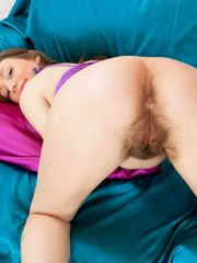 First timer Tatiana releases her hairy vagina from polka dot underwear