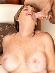 Busty granny Victoria Peale seduces a younger man for a wild fuck session