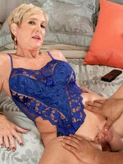Older lady Honey Ray realizes her sexual fantasies when she bangs a black stud