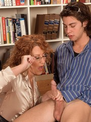 Redhead cougar Demi La Rue seduces a young boy and sucks his dick dry