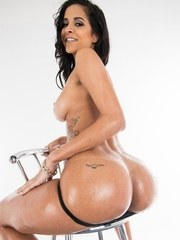 Latina model Abby Lee Brazil works her oiled ass free from thong underwear