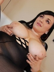 Dark haired plumper with huge tits fucks her man in crotchless bodystocking