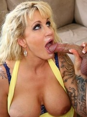 Big boobed mother Ryan Conner sucks the cum from a cock like an old pro