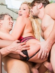 Sexy blonde pornstar Lexi Lowe gets double fucked by a couple of big dicks