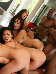 Group of white and Asian females get fucked by black studs during an orgy
