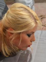 Blonde chick Sandy is ball gagged and tied up with rope until shes helpless