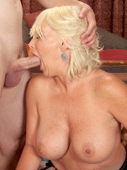 Mature blonde woman Joanna Storm demonstrates her awesome oral sex skillz