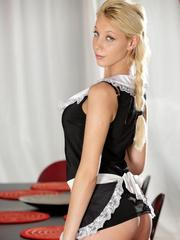 Hot blonde maid Kimber Delice gives her black employer a blowjob
