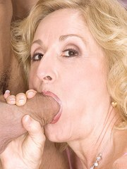 Blonde granny Cee Cee sucks a younger mans fat cock like a young nymph