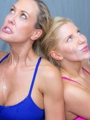 Blonde Brandi Love  Ashley Fires please yoga instructor in crotchless panties