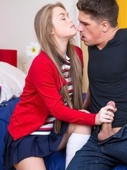 Young schoolgirl Madison Chandler wants some of her stepbrothers big cock